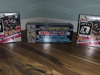 (2) 2019-20 Optic Mega Box And (1) 2019-20 Hoops Premium Stock Prizm Pulsar Sealed Set Basketball for Sale in Yardley,  PA