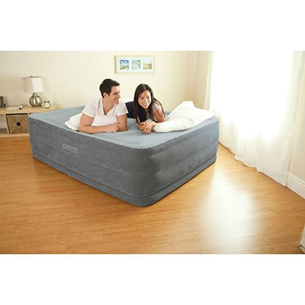 "New Intex Comfort Plush Elevated Dura-Beam Airbed with Built-in Electric Pump, Bed Height 22"", Queen"