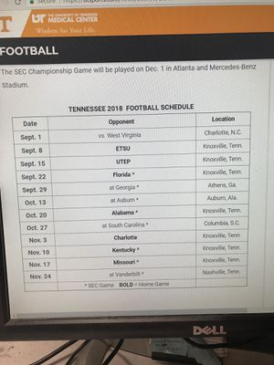 2018 UT FOOTBALL TICKETS- All 7 home games for Sale in Knoxville, TN