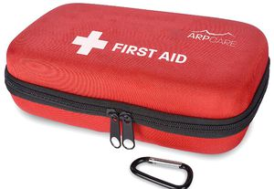 Compact First Aid Medical Kit - 121 Piece - Hard Carry Case Perfect for Home, Car, Camping, Office, Travel, Hiking, and Sports, Red for Sale in Piscataway, NJ