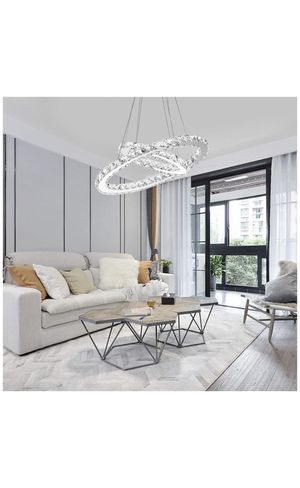 Modern Crystal Chandelier, Contemporary Led Ceiling Lights Fixtures Pendant Lighting for Living Room Bedroom Restaurant Porch Dining Room (2 Rings, D for Sale in Montclair, CA
