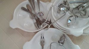 6 Oven safe escargo dishes with 6 forks and holders for $ 25.00 for Sale in Alexandria, VA