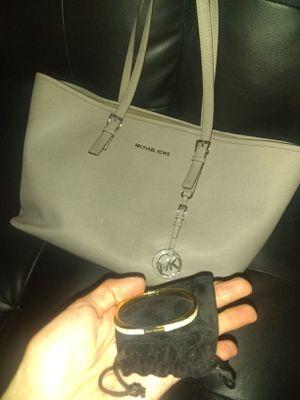 Michael Kors bag & Gold MK hinged bangle bracelet for Sale in Modesto, CA