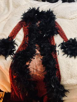 Vintage Long red Sexy robe with feather trim for Sale in Portland,  OR
