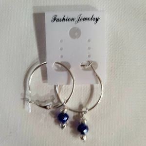 925 SILVER HOOP 25 MM EARRINGS WITH REMOVEABLE 6MMFACET BLUE CRYSTAL BEAD BLOWOUT SALE EARRINGS . for Sale in Manalapan Township, NJ