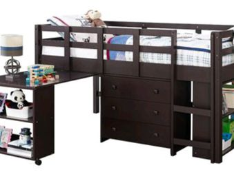 TWIN LOW LOFT BED - DARK CAPPUCCINO for Sale in Chalfont,  PA