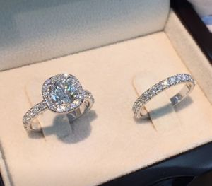 Princess Round Cut White Sapphire Full Diamond Rings 925 Silver Engagement Rings Set Wedding Ring size 7 for Sale in March Air Reserve Base, CA