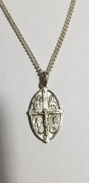 "Antique ""I Am A Catholic Please Call A Priest"" 4 Way Cross Medal Necklace for Sale in Hemet, CA"
