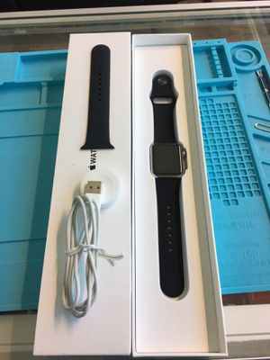 Apple Watch Series 1 38mm Silver Stainless Steel Black Band for Sale in Seattle, WA