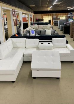 İn STOCK Moda Trend Spcl White Pablo Sectional And Ottoman 8 for Sale in Alexandria,  VA