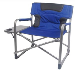 Ozark Trail XXL Folding Padded Director Chair with Side Table blue color A7-210 for Sale in St. Louis, MO