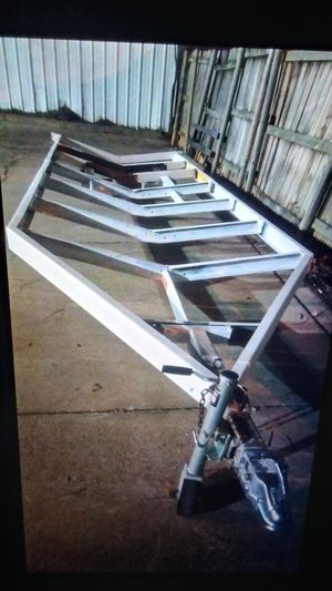 Trailer 20x6 ft heavy duty frame trailer no axle only frame and Jack good for trailer or boot for Sale in Irving, TX