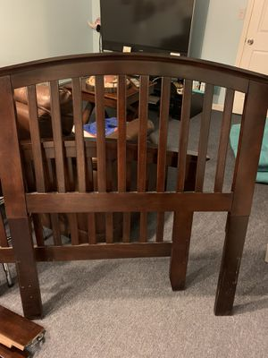 Almost new cherry wood twin bed frame and box spring for Sale in Shelton, CT