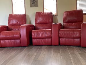Red leather sectional movie theater couch for Sale in Fort Lauderdale, FL