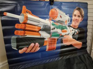 (#2) nerf white blaster toy pellet gun / outdoor or indoor vinyl poster wall hanging / blue / green for Sale in Naples, FL