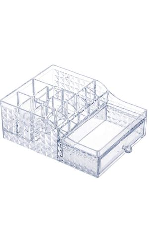 Clear Acrylic Makeup Organizer with Drawers Makeup Storage with Brush Holder Cosmetic and Jewelry Organizer Box for Bathroom, Dresser and Countertop for Sale in Brooklyn, NY