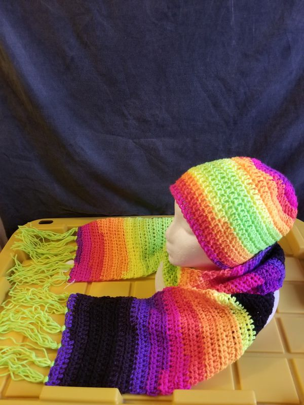 Crochet hat and scarf set