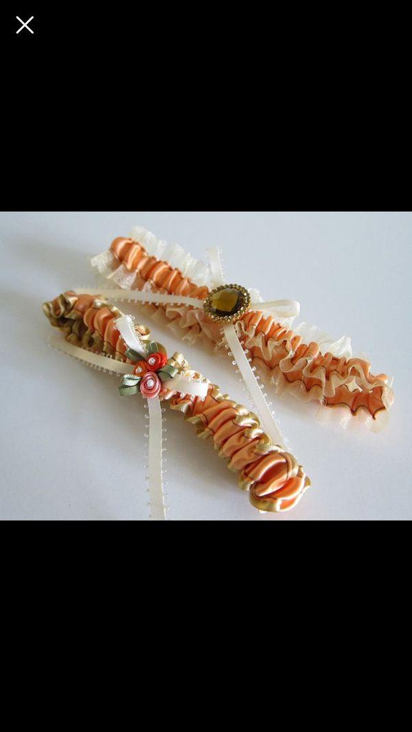Orange Sheer Wedding Garter Set with Rhinestone Ribbon Keepsake and Toss Garter