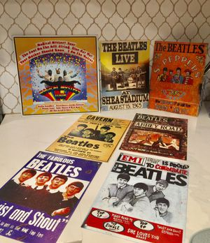 Lot 7 the Beatles tin wall hanging plaques sgt pepper concert promos for Sale in Anaheim, CA