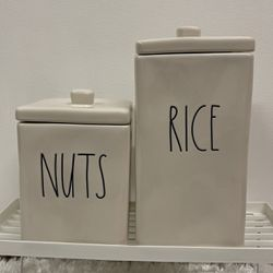 """Rae Dunn """"NUTS & RICE"""" Square Canister Set for Sale in Hacienda Heights,  CA"""