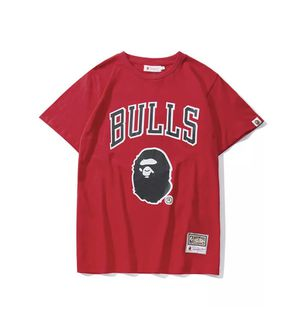 Bape Mitchell and ness bulls shirt size large for Sale in Miami, FL