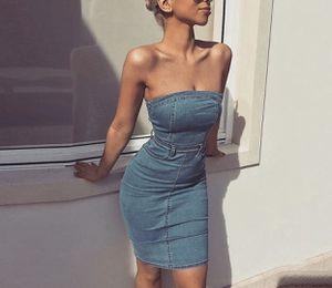 Strapless denim midi dress jeans zipper waist belt bodycon for Sale in MONTGOMRY VLG, MD