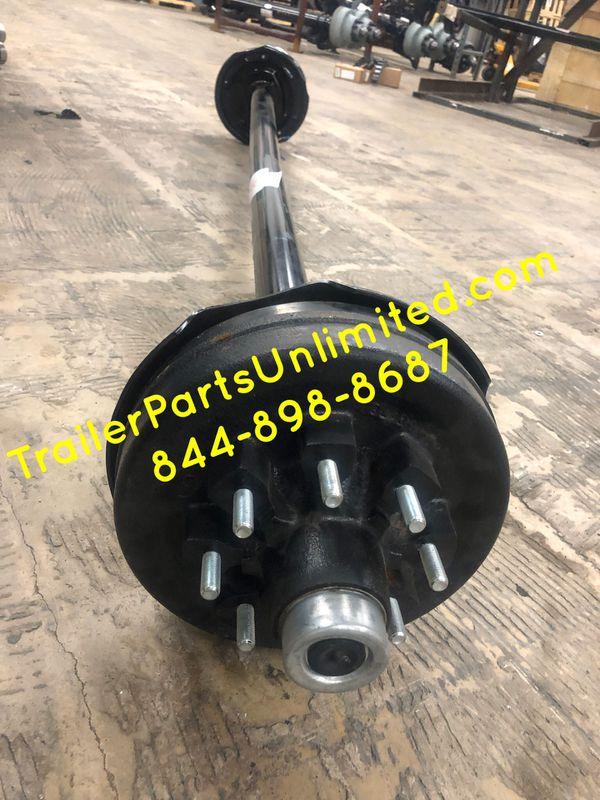 "7k electric brake trailer axle 8 lug 6.5"" bolt pattern fully assembled brand new"