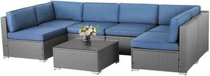 Outdoor patio set furniture wicker backyard waterproof sectional sofa coffee table for Sale in Fontana, CA