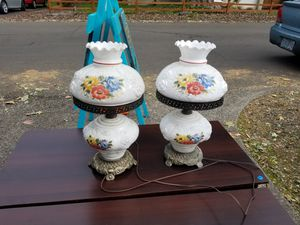 Pair of antique white milk glass hand painted glass lamps. 20H x 11w for Sale in Portland, OR