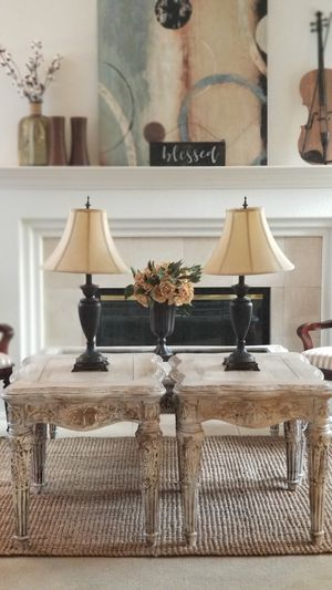 ORNATE CARVED WOOD/END TABLES SET (MATCHING COFFEE TABLE IS AVAILABLE) for Sale in Chino Hills, CA
