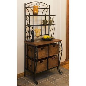 Southern Enterprises Iron & Wicker Bakers Rack for Sale in Boca Raton, FL