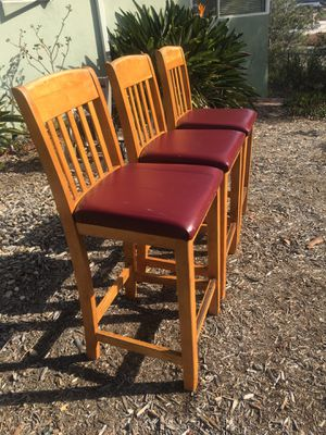 "Bar stools light wood seat height 27"" back height 41 "" for Sale in Carlsbad, CA"