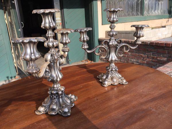 Pair of silvered bronze candelabras