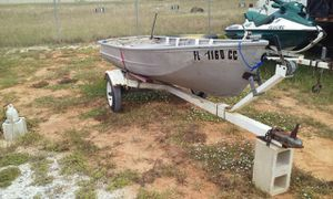 For sale. 12 Ft aluminum john boat .Comes with trailer. Good tires. Comes with trolling motor that works great. Used almost every weekend. $450.00 for Sale in Winter Haven, FL