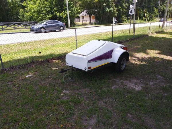Motorcycle tow behind trailer/camper. 285 lbs.