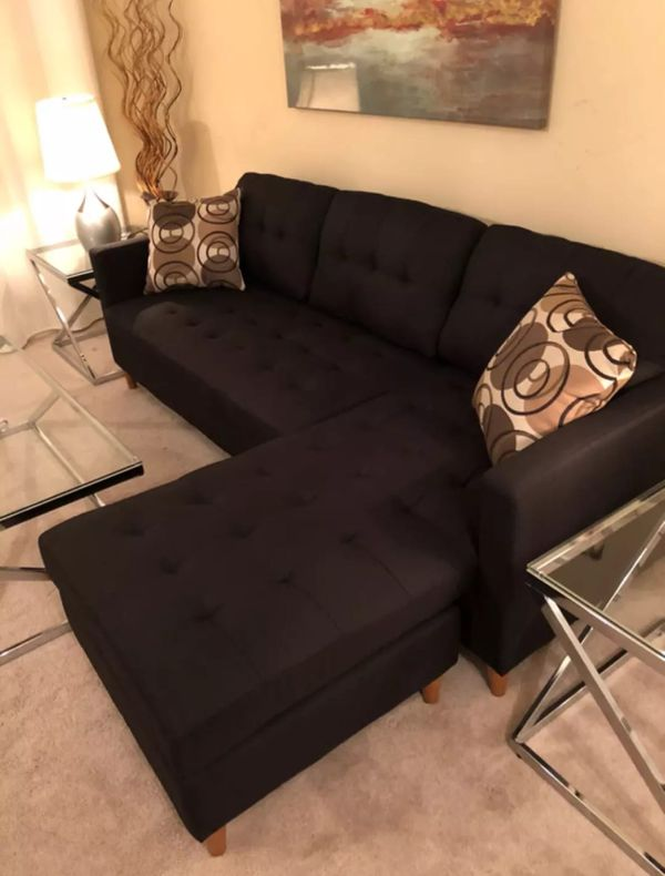 Brand new black linen sectional sofa couch with two accent pillows