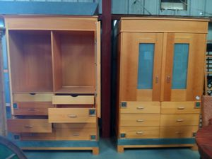 Set of 2 antique wood armoires wardrobes storage for Sale in Tucson, AZ
