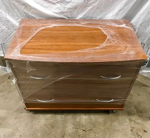Modern side table/ drawers. It's also a filing cabinet! On wheels! Cherry wood. Scandanavian, modern, transitional functional furniture for Sale in Dallas, TX