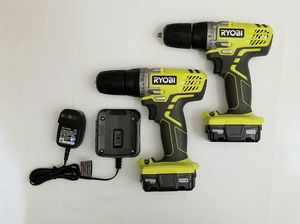 2 Ryobi 12-Volt Lithium-Ion Cordless 3/8 in. Drill/Driver with Two 12-Volt Batteries and Charger for Sale in Spring, TX