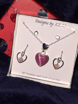 "New BoxedJewelry Set Pink Heart Charms Earrings K & M Designs Silver Tone 18"" Chain Gift Dangles Crystals 2 Pairs BN98 for Sale in Henderson, NV"