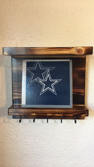 Dallas Cowboys wall decor key holder with shelves rustic handmade 5 hooks for Sale in El Paso, TX