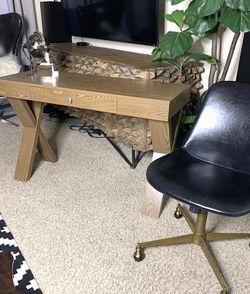 One Drawer Desk Cross Legs With Leather Office Chair for Sale in San Diego,  CA