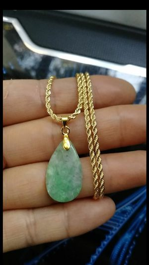 "(1)Pretty estate pc good luck green emerald genuine jade jadeist pendant Italy 14k gold plated rope chain 20"" 2mm for Sale in El Sobrante, CA"