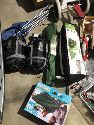 Camping tent/ sleep bag2/ chair2/air mattress/ light/ new solar bath bag/ new stove for Sale in City of Industry, CA