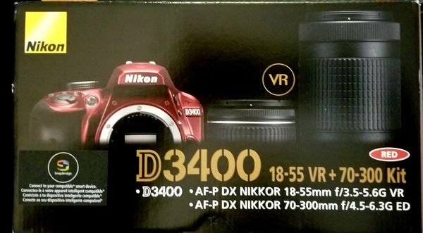 Camera- Nikon D3400 DSLR WITH 2 lenses and case
