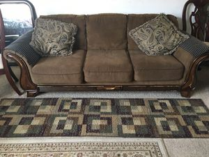 Coffee Colored Couch with Matching Carpet and Pillows for Sale in Silver Spring, MD