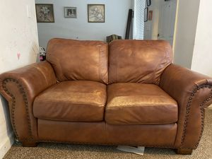Brown Leather two seater and one seater in great condition, no tears or stains, non smoking home. Moving out so must sell. for Sale in Homestead, FL