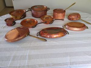 Assorted copper cookware, copper pots and pans, Matfer Bourgeat, Cop*R*Chef, Paul Revere for Sale in San Diego, CA