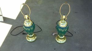 2 Green Lamps without the shades $ 10.00 for both for Sale in Fresno, CA