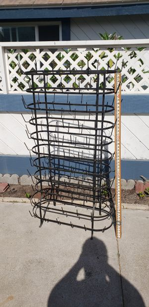 Vintage French Antique Wine Champagne Bottle Drying Wine Rack hanger dryer bottlerack iron metal stand coffee cups mug for Sale in Orange, CA